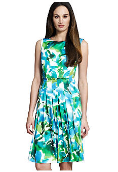 Jones New York Collection Petite Floral Pleated Boatneck Dress