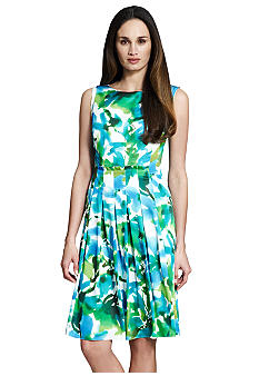 Jones New York Collection Plus Size Floral Pleated Boatneck Dress
