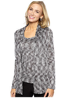 Jones New York Collection Long Sleeve Open Front Cardigan