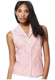 Jones New York Collection Petite Sleeveless Striped Blouse