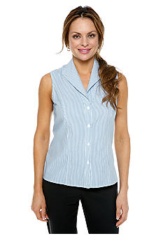 Jones New York Collection Petite Sleeveless Stripe Blouse