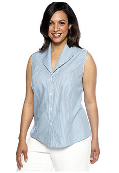 Jones New York Collection Plus Size Sleeveless Stripe Blouse