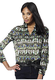 Jones New York Collection Front Pocket Button Up Top