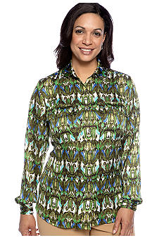 Jones New York Collection Plus Size Long Sleeve Blouse With Front Pockets
