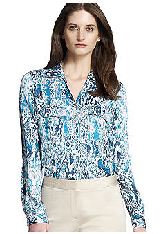 Jones New York Collection Long Sleeve Double Pocket Blouse