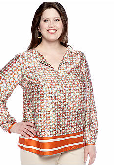 Jones New York Collection Plus Size Long Sleeve Jewel Neck Tunic