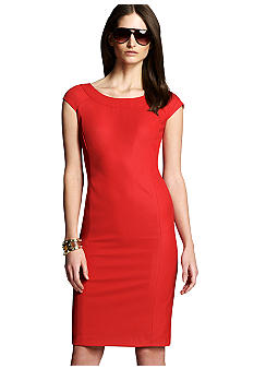 Jones New York Collection Cap Sleeve Dress With Ballet Neckline