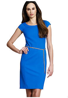 Jones New York Collection Petite Cap Sleeve Dress With Ballet Neckline