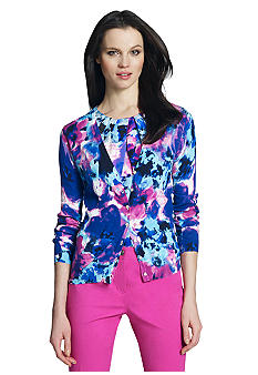 Jones New York Collection Petite Long Sleeve Floral Print Cardigan
