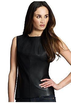 Jones New York Collection Petite Leather Sleeveless Shell