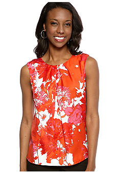 Jones New York Collection Printed Shell With Pleated Neckline