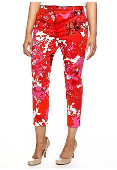 Jones New York Collection Petite Print Skinny Trousers
