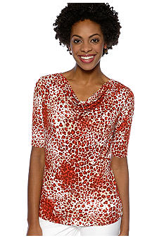 Jones New York Collection Elbow Sleeve Top with Cowl Neckline