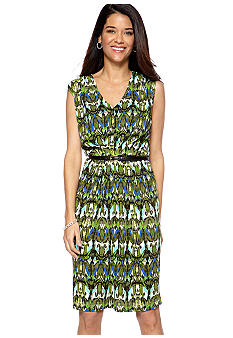 Jones New York Collection Pleated Dress With Belt