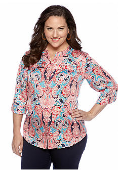 Jones New York Collection Plus Size Paisley Print Blouse