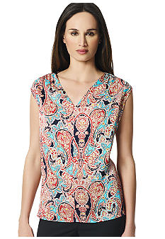 Jones New York Collection Sleeveless Pleated Front Top