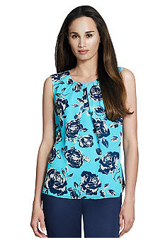 Jones New York Collection Floral Print Shell