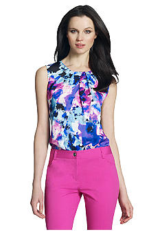 Jones New York Collection Printed Blouse With Pleats