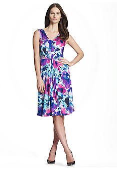 Jones New York Collection Petite Printed Dress with Pleats