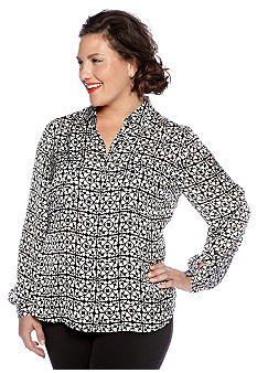 Jones New York Collection Plus Size Long Sleeve Blouse
