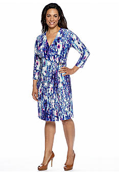 Jones New York Collection Plus Size Three-Quarter Sleeve Dress