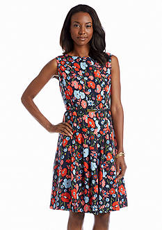 Jones New York Collection Fit & Flare Floral Belted Dress