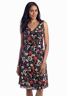 Jones New York Collection Fit & Flare Floral Print Dress