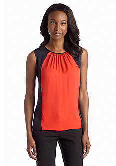 Jones New York Collection Sleeveless Gathered Neckline Colorblock Shell