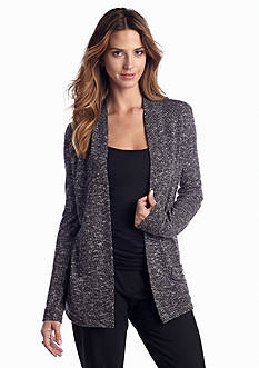 Jones New York Collection Space-Dye Open Front Cardigan