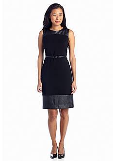 Jones New York Collection Sleeveless Leather Detail Dress