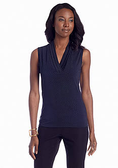 Jones New York Collection Sleeveless Printed Pleated Neck Top