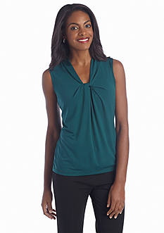 Jones New York Collection Sleeveless Knotted Print Top