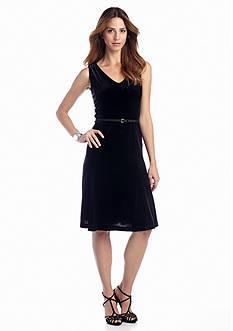 Jones New York Collection Sleeveless Belted V-Neckline Dress