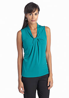 Jones New York Collection Sleeveless Knotted Top