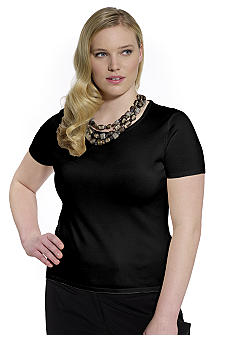 Jones New York Collection Plus Size Scoop Neck Shell