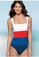 Bleu Rod Beattie Mixing It Up Shirred One Piece Swim Suit
