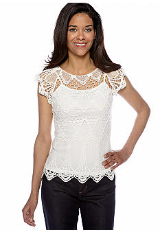 Madison Petite Short Sleeve Lace Top with Cami