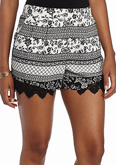 A. Byer Black and White Printed Shorts