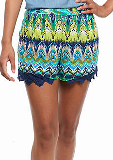 A. Byer Blue Green Printed Shorts