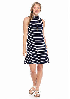 A. Byer Sleeveless Stripe Necklace Knit Dress