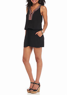 A. Byer Embroidered Trim Romper