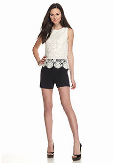 A. Byer Sleeveless Lace Top Romper