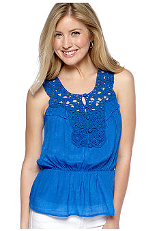 A Byer Sleeveless Crochet Gauze Top