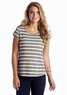 A Byer Stripe Knit to Woven Top