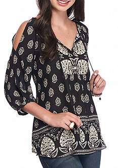 A. Byer Cold Shoulder Black Blouse