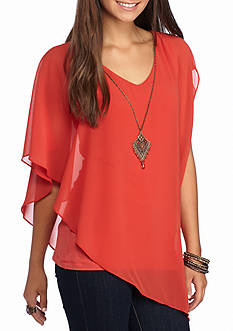A. Byer Asymmetrical Hem Necklace Top