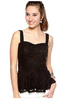 A Byer Sleeveless Lace Peplum Top