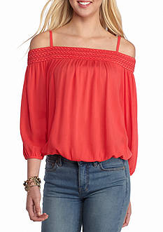 A. Byer Cold-Shoulder Long Sleeve Top