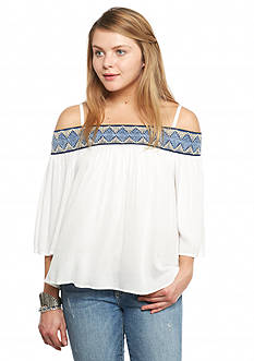 A. Byer Aztec Trim Off the Shoulder Top