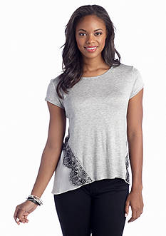 A Byer Lace Trim Knit to Woven Top